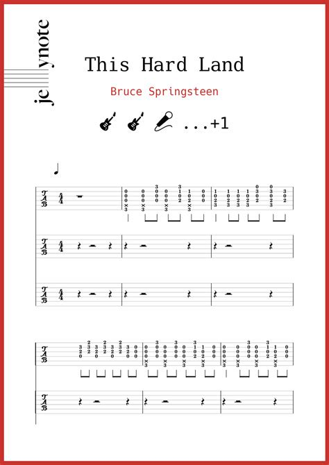 """Bruce Springsteen """"This Hard Land"""" Guitar, Voice and"""