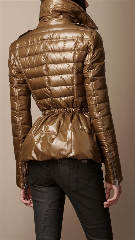 Burberry Brit Down Filled Peplum Puffer Jacket in Amber