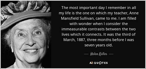 Helen Keller quote: The most important day I remember in