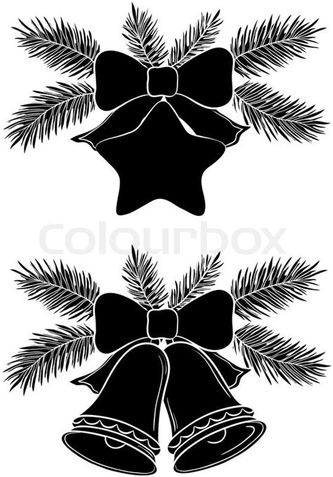 Christmas decorations: bells and star with bows and fir