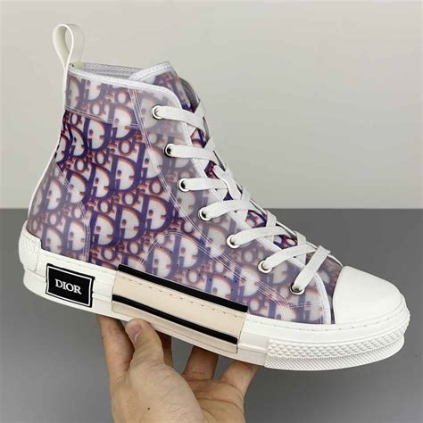 Dior B23 High-top Sneakers in Purple and Red Dior Oblique