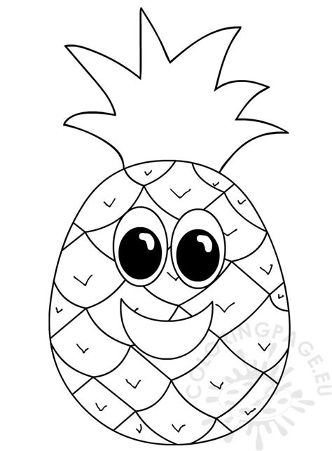 Pineapple with smiling face – Coloring Page