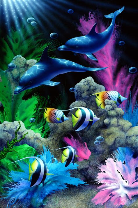 enchanted waters dolphin and tropical fish paintings by